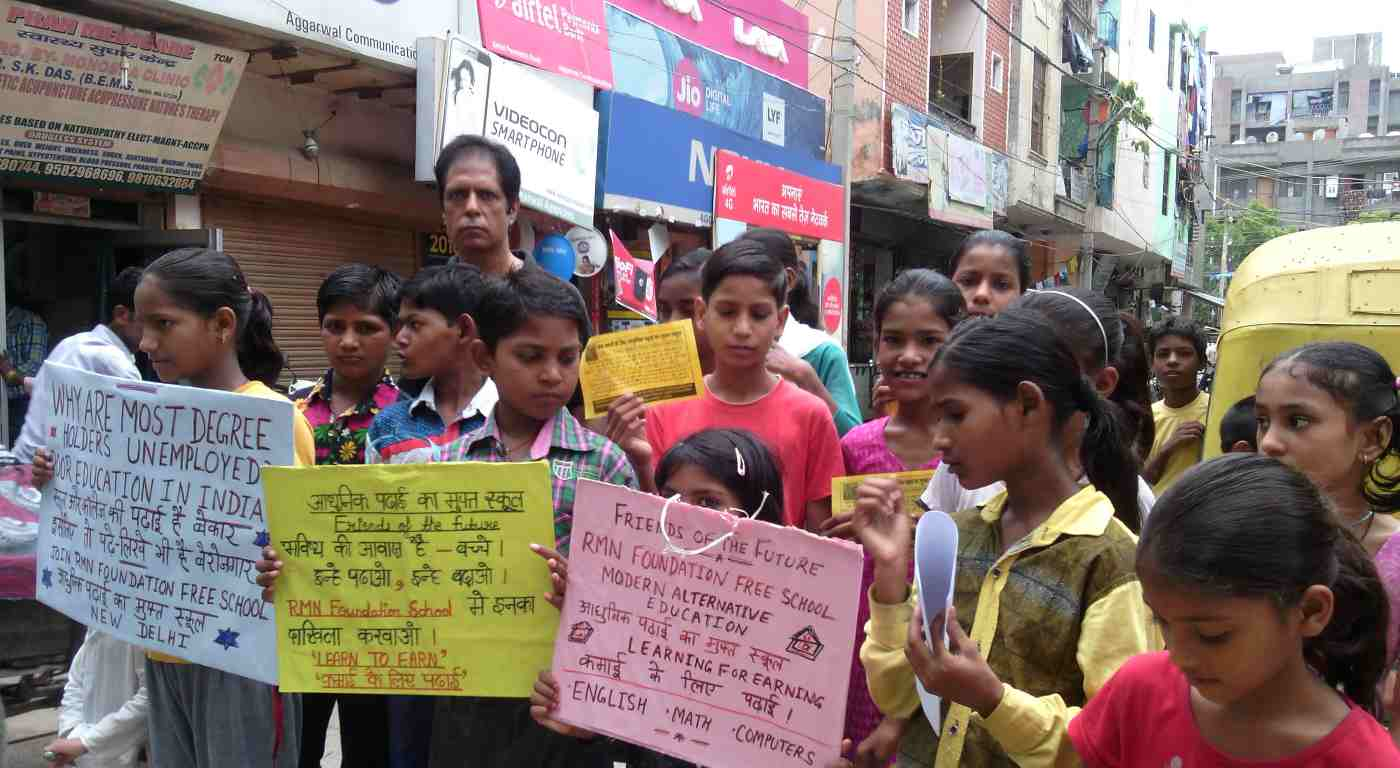 RMN Foundation running an education promotion campaign in Delhi. July 2017.