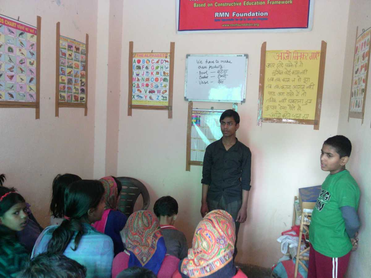 Students at the RMN Foundation Free School in New Delhi