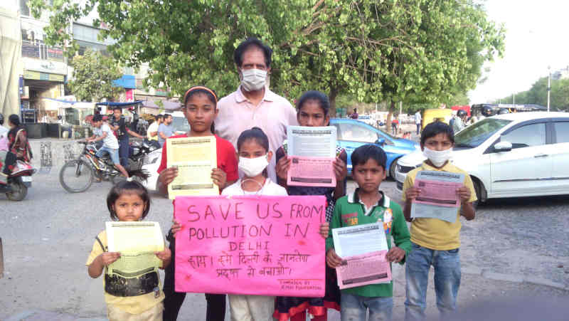 Children – who study at the RMN Foundation free school – have launched a new pollution-control campaign in Delhi.