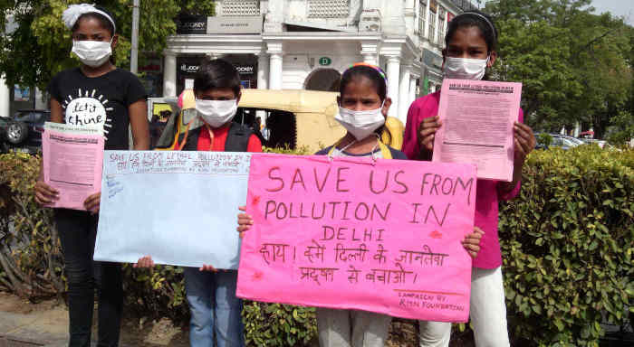 Children – who studied at the RMN Foundation free school – participating in a pollution-control campaign in New Delhi. Photo and campaign by RMN Foundation founder Rakesh Raman.