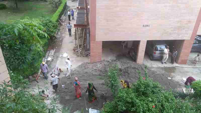 Deadly dust and noise pollution is caused by FAR construction in occupied cooperative group housing societies of Delhi where millions of people live.